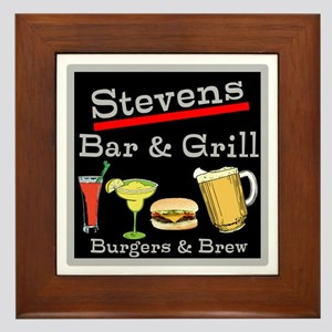 Personalized Bar and Grill Framed Tile