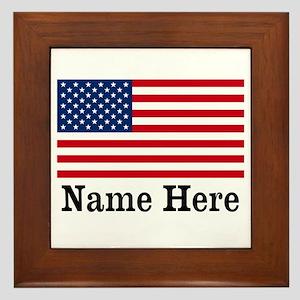 Personalized American Flag Framed Tile
