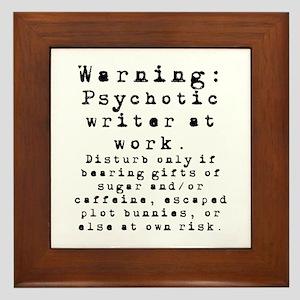 Caution: Writer at Work Framed Tile