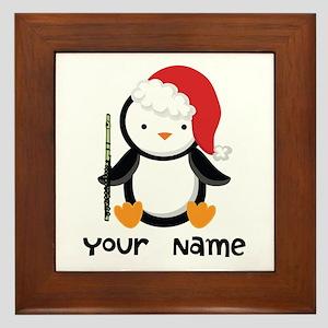 Personalized Flute Penguin Framed Tile
