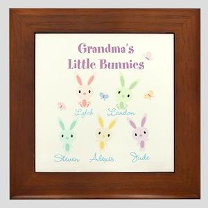 Grandmas little bunnies custom Framed Tile