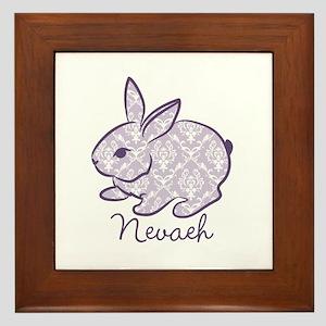 Purple chic bunny Framed Tile