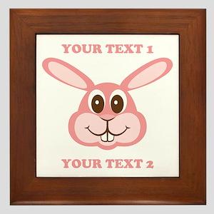 PERSONALIZE Pink Bunny Framed Tile