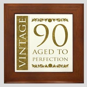 Fancy Vintage 90th Birthday Framed Tile