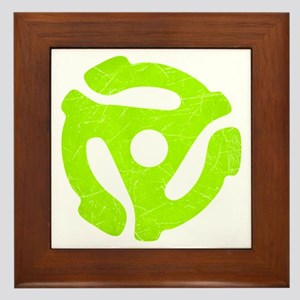 Lime Green Distressed 45 RPM Adapter Framed Tile