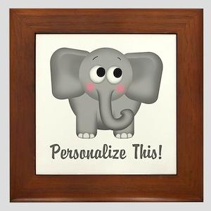 Cute Elephant Personalized Framed Tile
