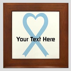 Personalized Light Blue Ribbon Heart Framed Tile
