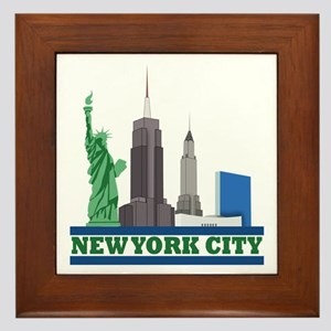 New York City Skyline Framed Tile