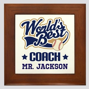 Personalized Baseball Coach Gift Framed Tile