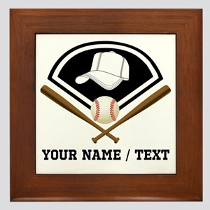 Custom Name/Text Baseball Gear Framed Tile