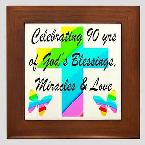 90 YR OLD BLESSING Framed Tile