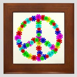 1960's Era Hippie Flower Peace Sign Framed Tile