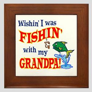 Fishing With Grandpa Framed Tile