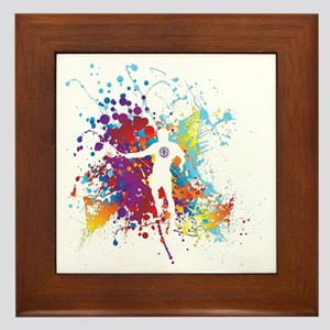 Color Splash Tennis Tshirt Framed Tile