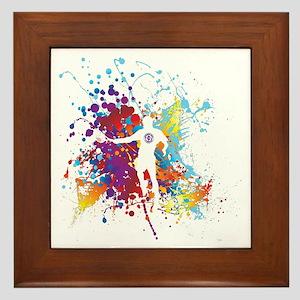 Color Splash Tennis Tshirt Framed Tile