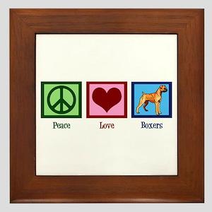 Peace Love Boxer Dog Framed Tile