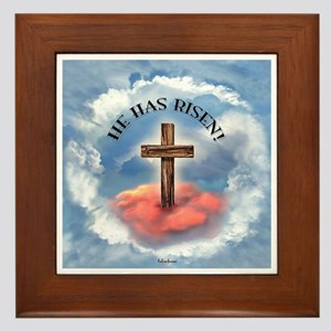 He Has Risen Rugged Cross With Clouds Framed Tile