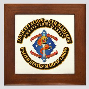 1st Bn - 4th Marines with Text Framed Tile