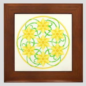 Daffodils Mandala Framed Tile