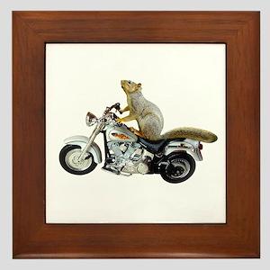 Motorcycle Squirrel Framed Tile