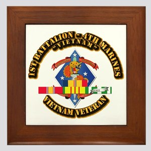 1st Bn - 4th Marines w VN SVC Ribbon Framed Tile