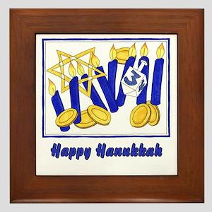 Happy Hanukkah 3 Framed Tile