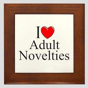 """I Love (Heart) Adult Novelties"" Framed Tile"