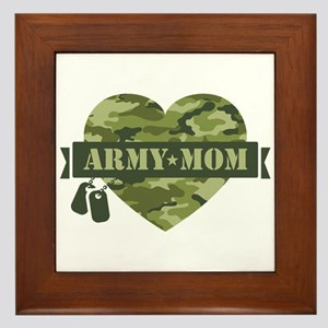 Camo Heart Army Mom Framed Tile
