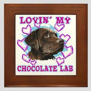 lovin_choc lab_dark Framed Tile