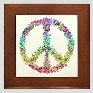 Peace of Flowers Framed Tile