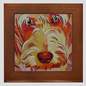 Harvey the Doodle Framed Tile