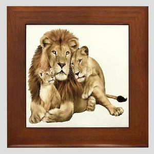 Lion And Cubs Framed Tile