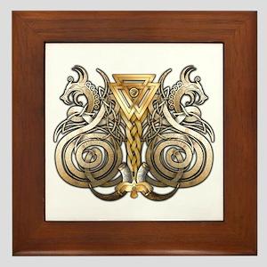Norse Valknut Dragons Framed Tile