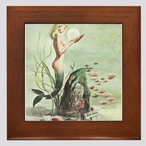 Retro Pin Up 1950s Mermaid with School of Fish Fra