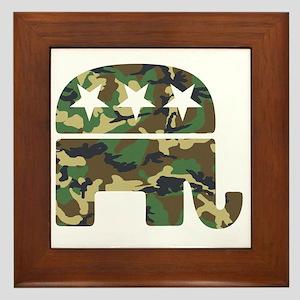 Republican Camo Elephant Framed Tile