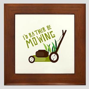 Rather be Mowing Framed Tile