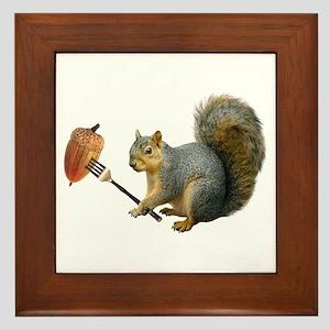 Squirrel Acorn Fork Framed Tile