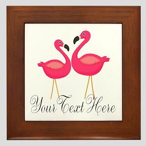 Pink Flamingos Framed Tile