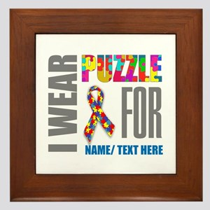 Autism Awareness Ribbon Customized Framed Tile