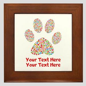 Dog Paw Print Customize Framed Tile
