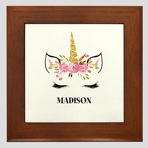 Unicorn Face Eyelashes Personalized Gift Framed Ti