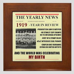 born in 1919 birthday gift Framed Tile