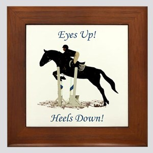Eyes Up! Heels Down! Horse Framed Tile
