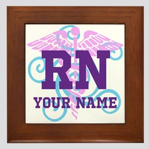 Rn Swirl With Personalized Name Framed Tile