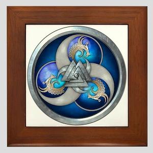 Blue Norse Triple Dragons Framed Tile