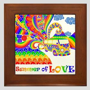 Retro Rainbow Hippie Van Framed Tile