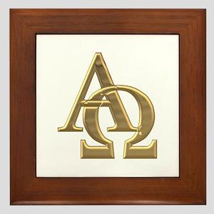 """""""3-D"""" Golden Alpha and Omega Symbol Framed Tile"""