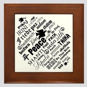 PEACE in different languages Framed Tile