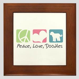 Peace, Love, Doodles Framed Tile