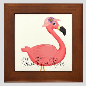 Pink Flamingo Lady Framed Tile